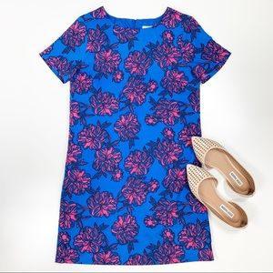J. Crew | Blue & Pink Floral Shift Dress Size 2